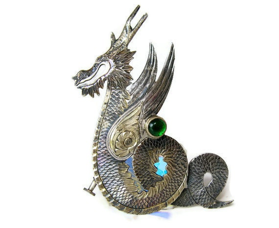 Chinese Dragon Brooch: Silver Winged Dragon Pin with Green Stone, Gold Gilt Accents