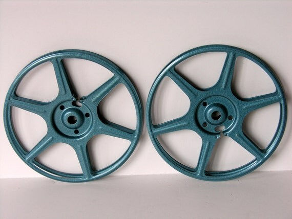 Vintage Teal Blue 8mm Film Reels & Canisters