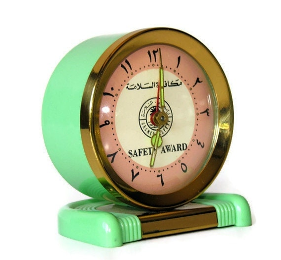 Vintage Clock - Jadeite Green Art Deco Style with Arabic Numbers, Safety Award