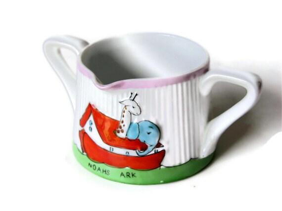 Noah's Ark Baby Cup Two Handled Vintage Pitcher Mug Pour Spout Elephant Giraffe