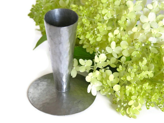 Pewter Bud Vase by Don Miller, Harpers Ferry, Hand Hammered Handmade Primitive