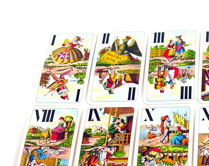 Vintage Tarot Cards Card Deck Colorful Graphics Piatnik Tarock Vienna Austria Ephemera Fortune Telling Supplies