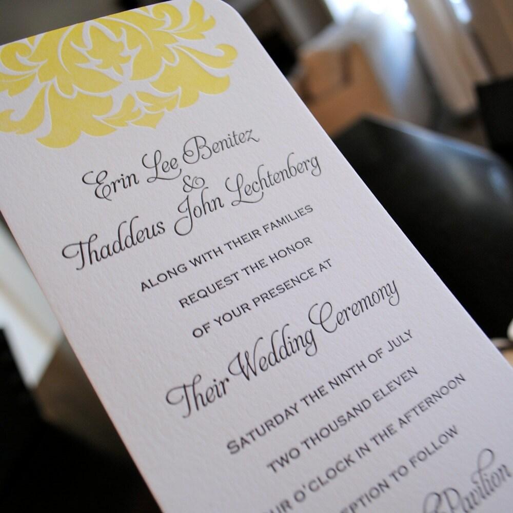 Matchy Matchy Letterpress Invite And Handmade Envelope: Letterpress Wedding Invitation Sample Brocade