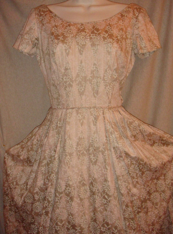 1950s Light Cotton Sun Dress, Flowered Harlequin Pattern sz S\/M
