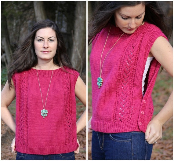 SALE vintage raspberry pointelle cropped sweater