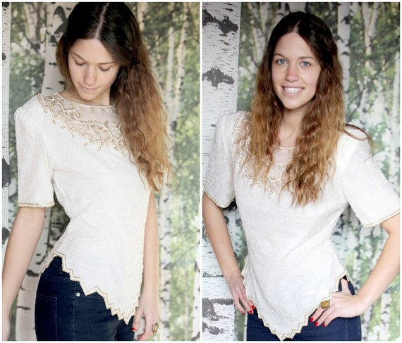 vintage gold and white beaded top