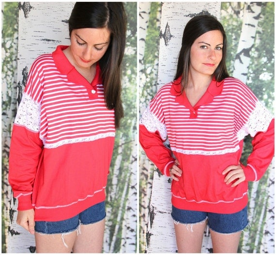 vintage eyelet and red striped sweater - Under The Boardwalk