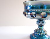 1st Annual Garage SALE Indiana Glass Co.Iridescent Blue Carnival Glass Wedding Bowl. Thumbprint