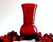 Vintage Mid Century Cherry Red Vase