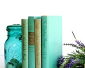 Vintage Book Bundle. Aqua Teal Turquoise Green Blue
