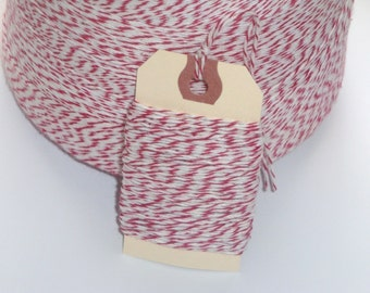 ONE DOLLAR SALE 25 Yards of Peppermint Red and White Bakers Twine