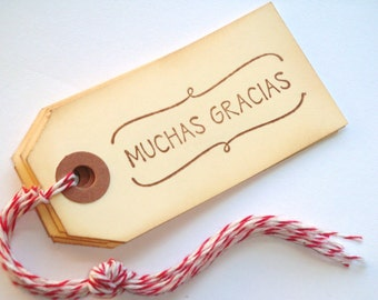Muchas Gracias Handstamped Tags