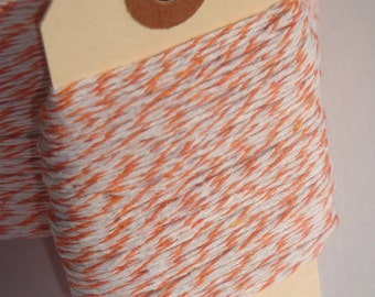 ONE DOLLAR SALE 25 Yards of Orange and White Bakers Twine