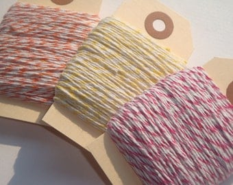 CHRISTMAS IN JULY  75 Yards of Orange, Pink, Yellow and White Baker's Twine // Citrus Collection