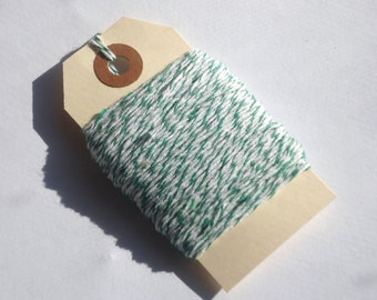 Green and White Bakers Twine 25 yards