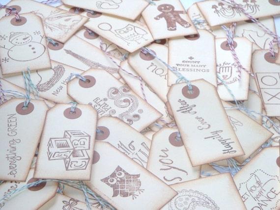 ONE DOLLAR SALE  Assorted Goodie Bag of Vintage Handstamped Tags