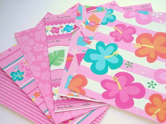 ONE DOLLAR SALE Tropical Pink Paradise Paper Pack Sampler