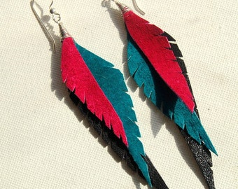 REDUCED!!!!!!!! Great gift! Upcycled, hypoallergenic Leather feather earrings HANDMADE