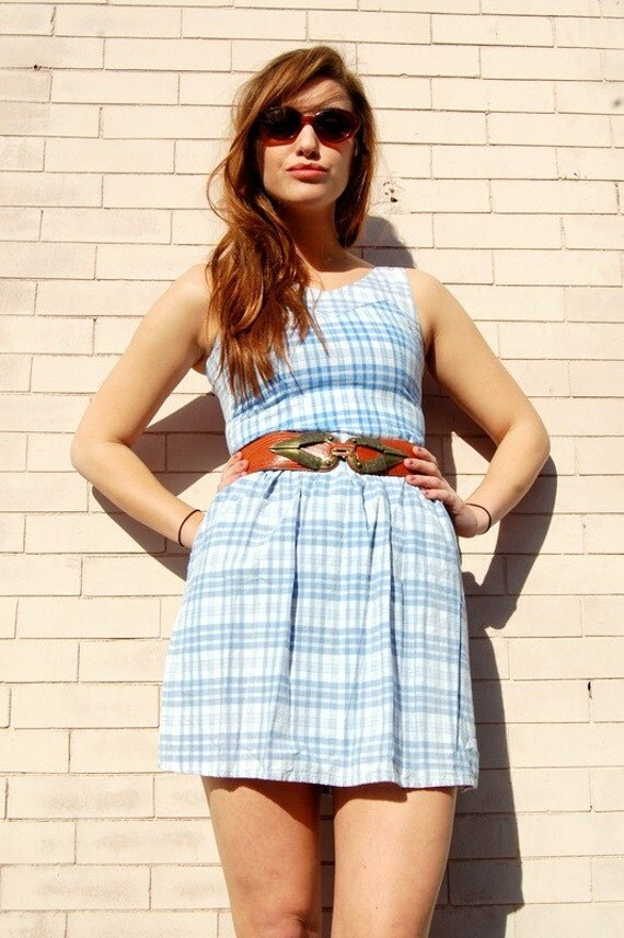 Blue cotton plaid day dress VTG