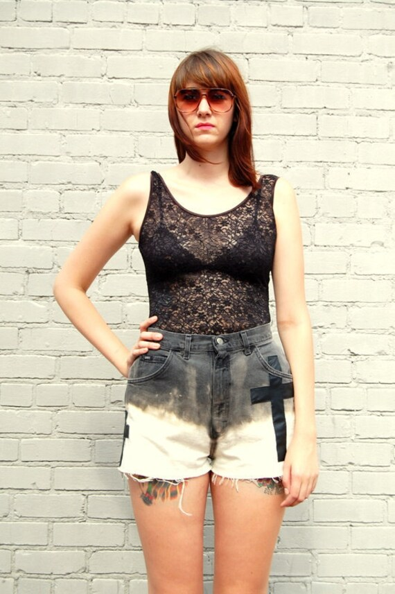 Dip dyed vintage shorts with leather crosses