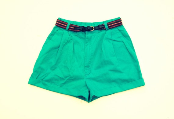 Teal pleated high waist belted shorts 1990s VTG