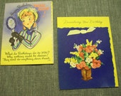 two vintage 1940s greeting cards