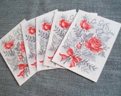 5 vintage SILVERY ROSE gift tags