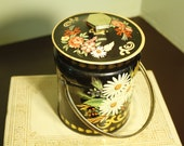 vintage floral candy tin with handle