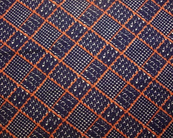 vintage fabric red and navy retro grid