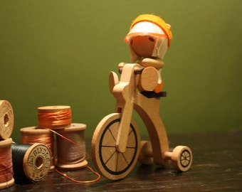 vintage ADORABLE wooden tricycle rider