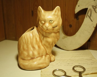 vintage kitty planter or pencil holder