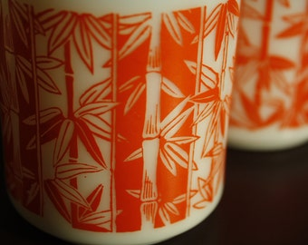 Milk Glass Mugs with Orange Bamboo