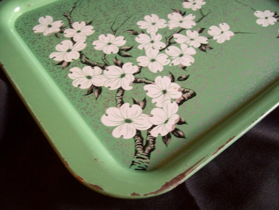 RESERVED for MARIAHMINE vintage SHABBY CHIC cherry blossom tray