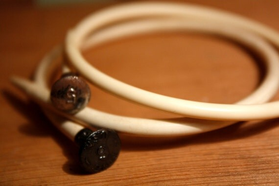 recycled KNITTING NEEDLE BANGLES in Vintage Ivory