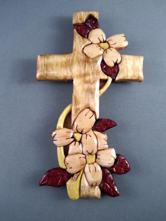 Handmade wooden Cross with dogwood flowers wood dogwood cross Christian gift crucifixion wall hang flowers myrtle purpleheart yellowheart