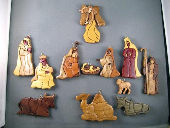 Nativity Scene Christmas ornament set Wooden: manger NOEL Handmade hand crafted, X-mas, Christian, religous holiday decoration, keepsake