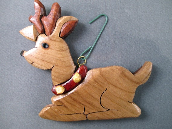 reindeer Handmade wooden Christmas ornament rudolph the red nosed reindeer Antlers holiday vintage stocking stuffer  Holiday Decor