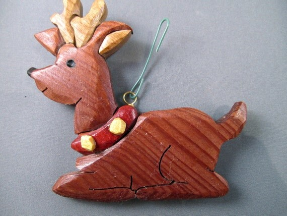 rudolph the red nosed reindeer Handmade wooden Christmas ornament  Antlers holiday vintage stocking stuffer  Holiday Decor