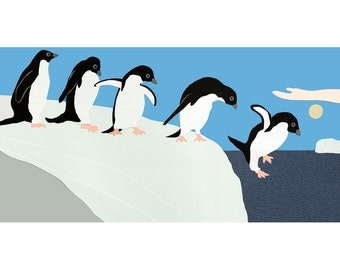 Penguins Jumping Giclee Print