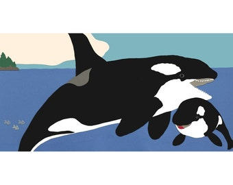 Killer Whale Mother and Baby Print