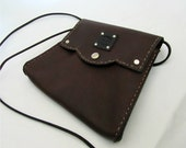 Boho Bag Chocolate Brown Leather Purse with Snaps and Adjustable Strap