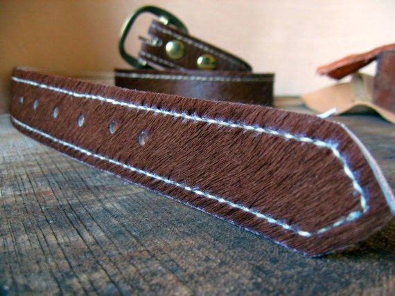 brown cow hair on hide leather belt