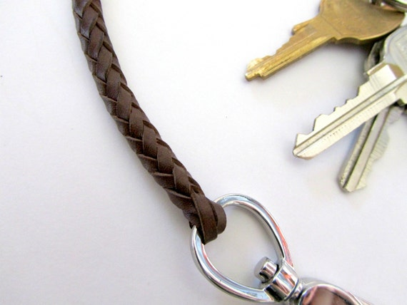 Mens Key Chain, Braided Leather Key Chain With Clip, Gift For Him, Keychain, Leather Lanyard, Brown Leather Key Chain