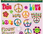 Peace signs Clip Art for personal and commercial use great for card making, digital scrapbooking, invitations and paper products