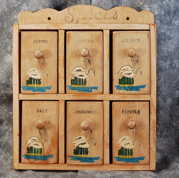 Spice Rack With Flamingo Designed Spice Boxes
