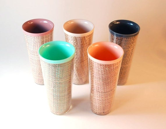 Five Melmac 8oz Burlap Lined Drinking Glasses