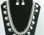Shell, Pearl and Crystal Necklace with matching earrings