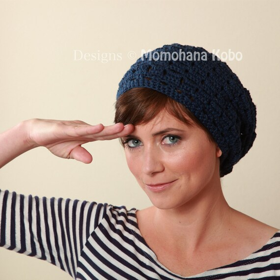 SALE Organic Cotton Yoga Beret Prussian