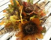 Custom Autumn Beauty Leaf Flower Bride/Bridesmaid Bouquet