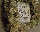 Joyeux Noel Dried Hydrangea and Gold Square Wreath